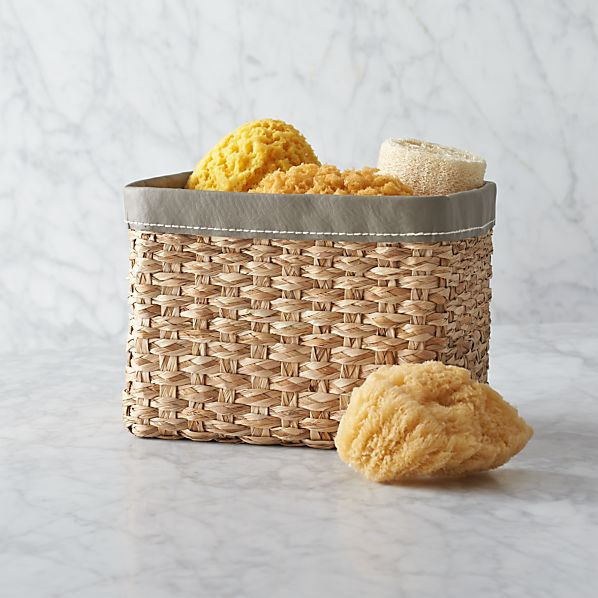 Small Woven Bin with Grey Trim