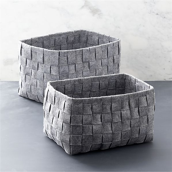 Set of 2 Woven Felt Bins