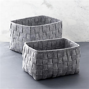 Woven Felt Bin Set of Two - Set of two woven...