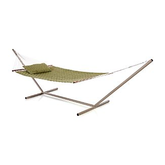 Woven Green Hammock with Pillow and Stand Set