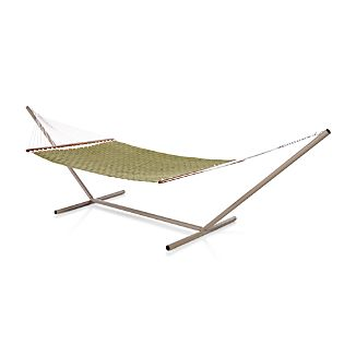 Woven Green Hammock with Stand Set