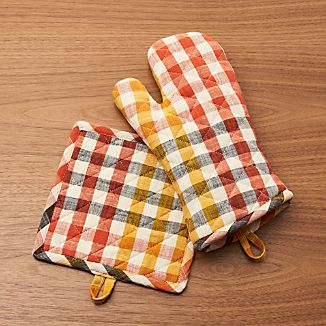 Warm Orange-Yellow Check Oven Mitt and Pot Holder