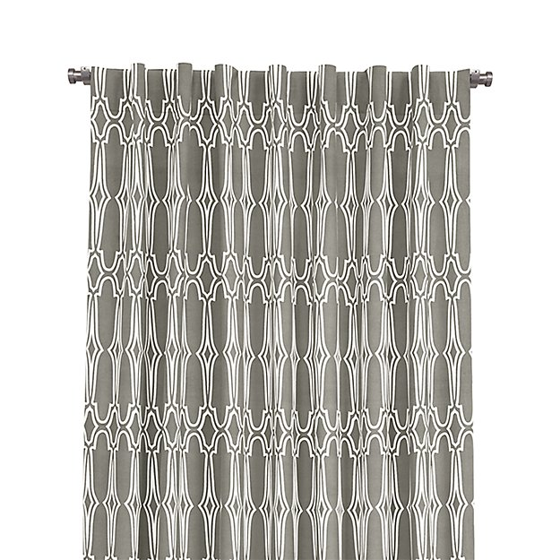 """Wrought Iron 48""""x96"""" White and Grey Curtain Panel"""