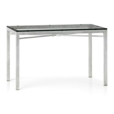 Glass Top/ Zinc X-Base 48x28 Dining Table