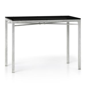 Grey Glass Top/ Zinc X-Base 48x28 High Dining Table