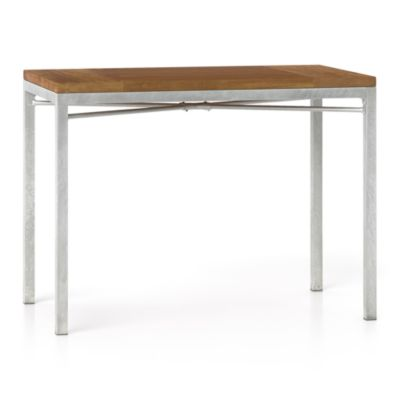 Teak Top/ Zinc X-Base 48x28 High Dining Table