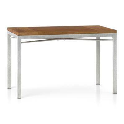 Teak Top/ Zinc X-Base 48x28 Dining Table