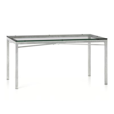 Glass Top/ Zinc X-Base 60x36 Dining Table