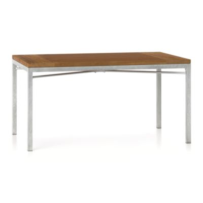 Teak Top/ Zinc X-Base 60x36 Dining Table