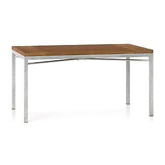 Teak Top/ Zinc X-Base 60x36 Dining Table