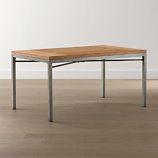 Teak Top/ Zinc X-Base 72x42 Dining Table