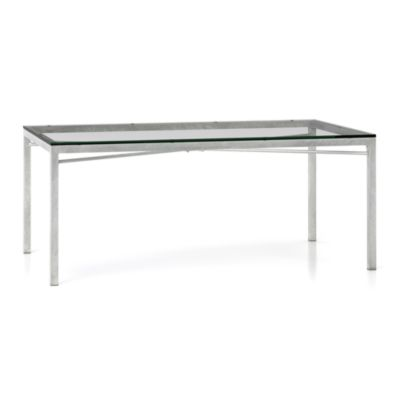 Glass Top/ Zinc X-Base 72x42 Dining Table
