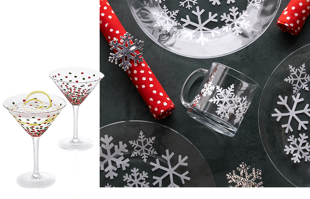 Merry Martini Glasses and Snowflake Table Settings
