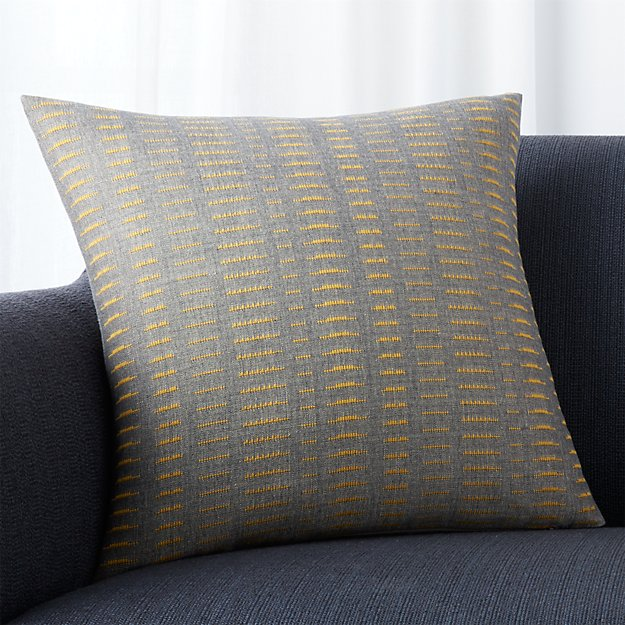 """Yates Yellow-Grey Striped 18"""" Pillow with Feather-Down Insert"""