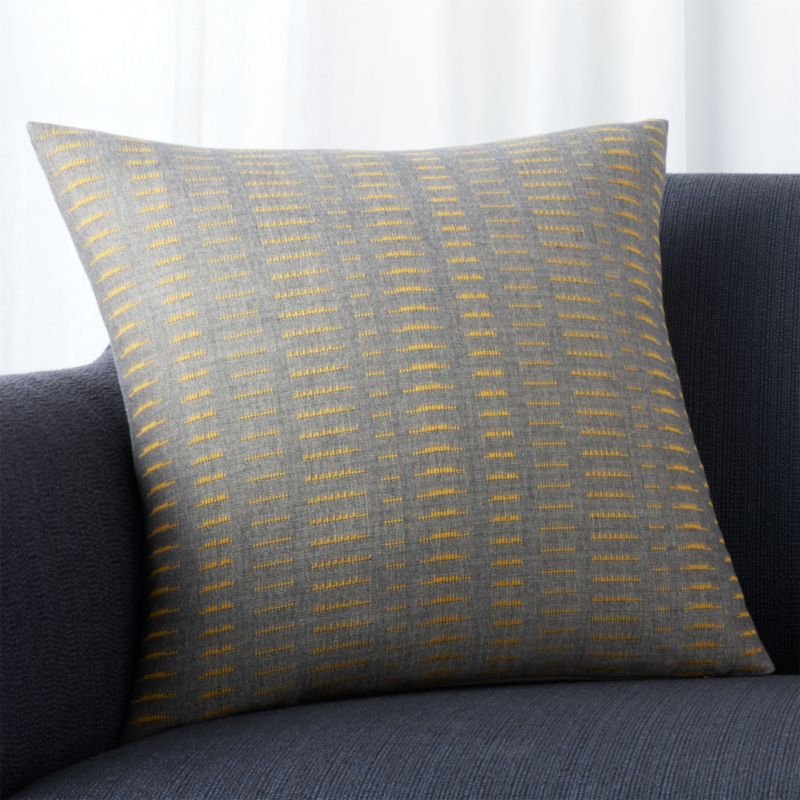 "Yates Yellow-Grey Striped 18"" Pillow with Down-Alternative Insert"