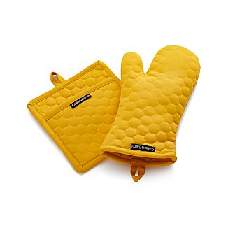 Yellow Oven Mitt and Pot Holder
