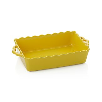 Yellow Scalloped-Edge Baking Dish