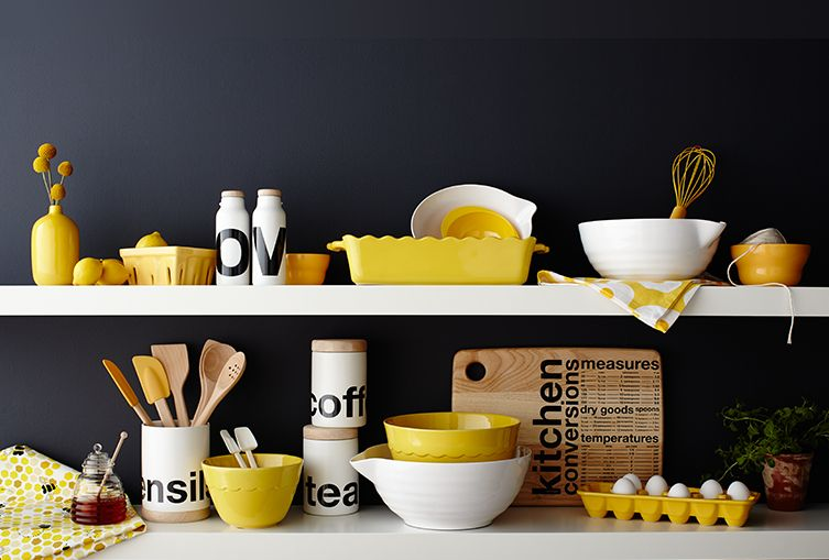 Yellow, black and white kitchen organization items