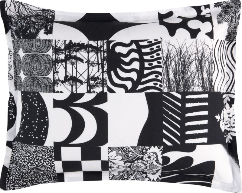 Isola's iconic designs as composed by her daughter Kristina Isola in 2002. Yhdessä demonstrates the dynamic range of patterns Maija Isola created during her legendary career—from geometric to romantic, figurative to abstract, lively to restrained. Just like Marimekko's own colorful history. Bed pillows also available.<br /><br /><NEWTAG/><ul><li>Pattern designed by Kristina Isola; 2002/2011</li><li>100% cotton percale</li><li>95% cotton/5% polypropylene fill</li><li>Pattern placement on shams may vary from sample shown</li><li>Machine wash cold</li><li>Made in China</li></ul>