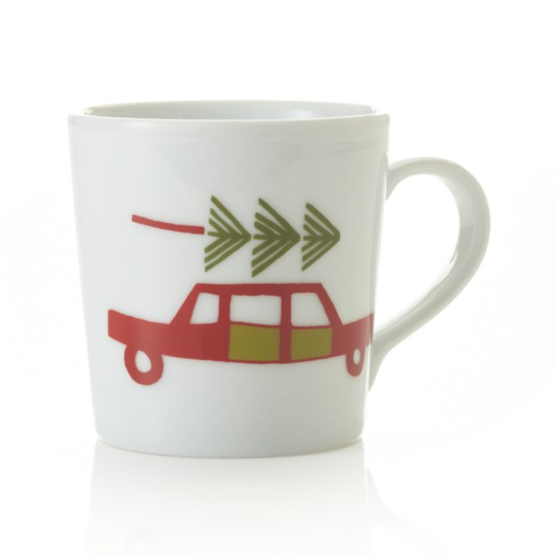 Whimsical tree-topped red sedan takes a spin on white porcelain mug, sized for small hands and small pours.<br /><br /><NEWTAG/><ul><li>Porcelain</li><li>Decal decoration</li><li>Dishwasher-, microwave- and oven-safe to 350 degrees</li><li>Made in China</li></ul>
