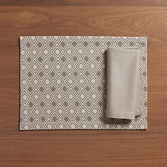 Zahara Grey Placemat and Fete Dove Napkin