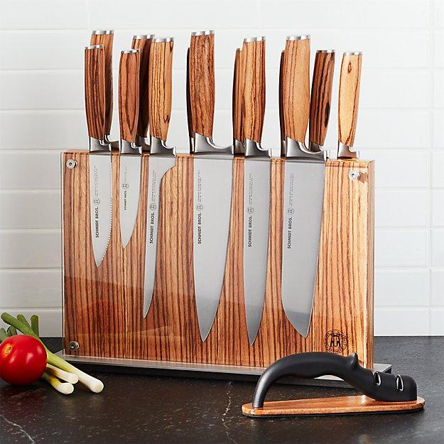 Schmidt brothers 15 piece zebra wood knife block set for Zebra kitchen set