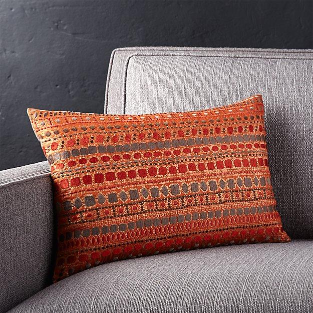 Orange Throw Pillows Crate And Barrel : Zevar Orange Silk Pillow Crate and Barrel