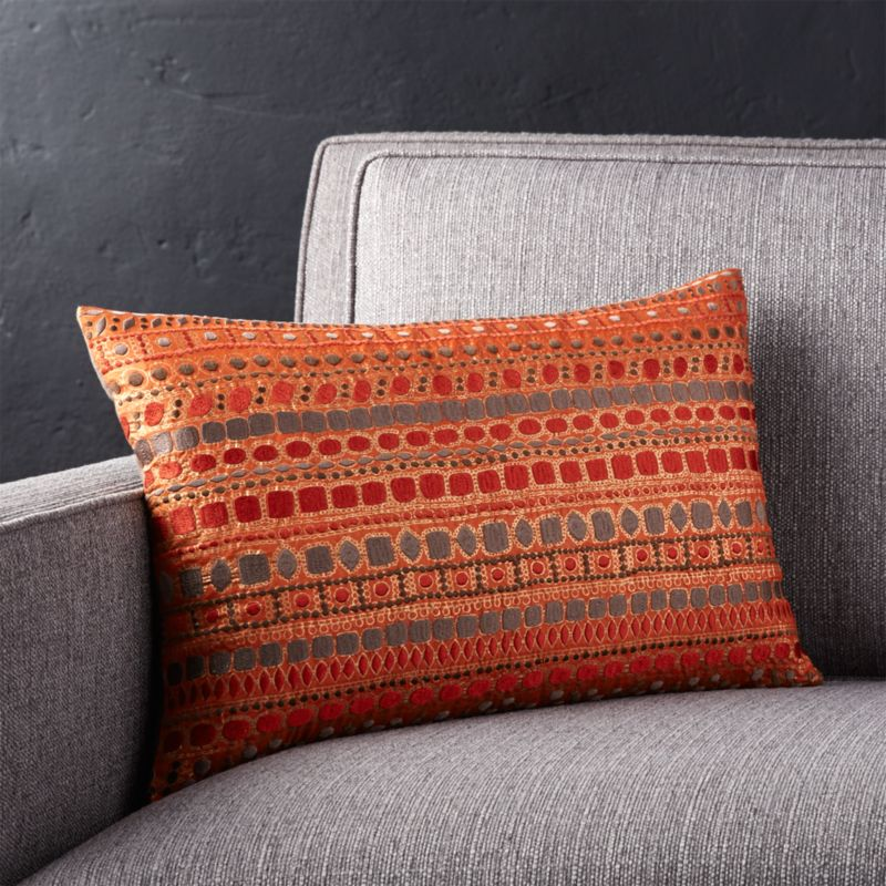 "Zevar Orange 18""x12"" Pillow with Feather-Down Insert"