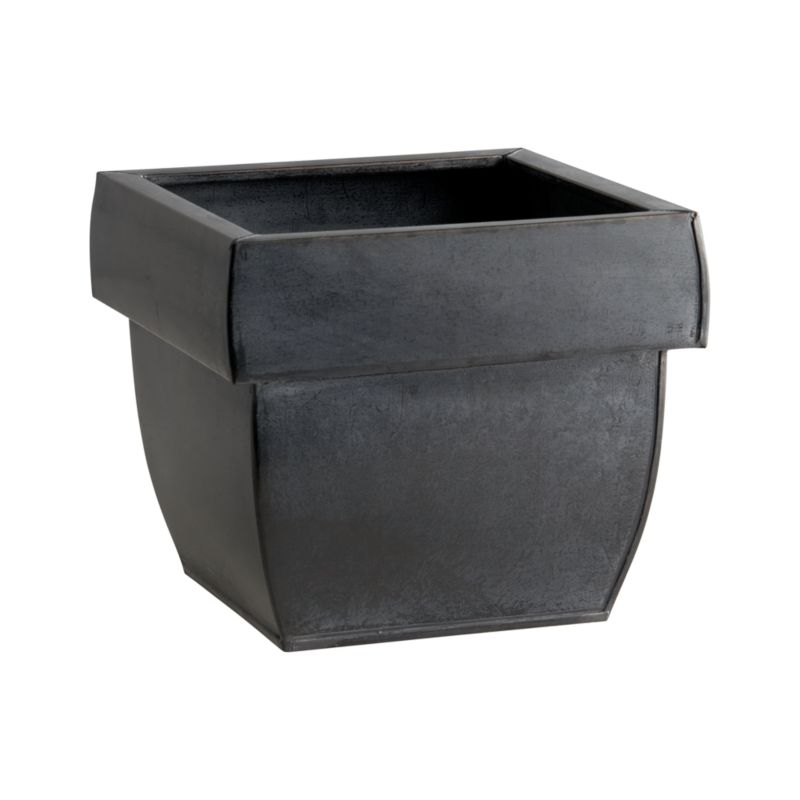 "Wide-rimmed planter in lightweight, zinc-finished galvanized steel lends a touch of industrial sophistication to the garden. Optional iron hook (sold separately) easily affixes to railings or fences up to 2"" wide. Finish will weather naturally.<br /><br /><NEWTAG/><ul><li>Galvanized steel with zinc finish and lacquer seal</li><li>Planter accommodates one 6"" insert or pot</li><li>Drainage hole and plug provided</li><li>For indoor or outdoor use; bring indoors during freezing temperatures</li></ul>"