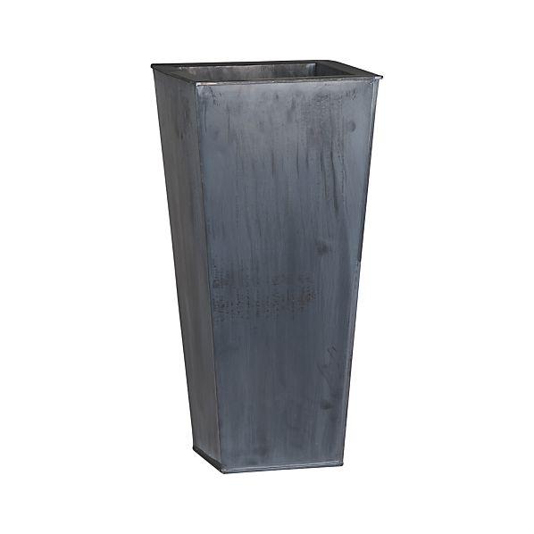 "Zinc 23.5"" Tall Square Planter"