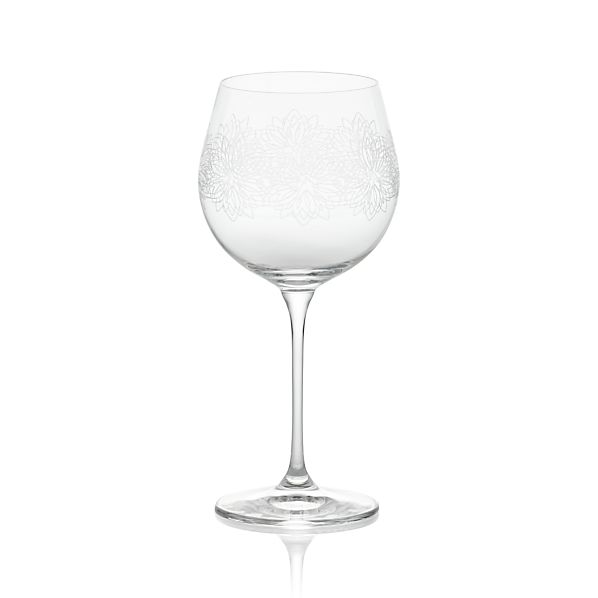 Zinnia Engraved Wine Glass