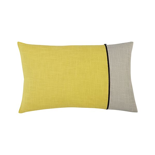 "Zipper Yellow 20""x13"" Pillow"