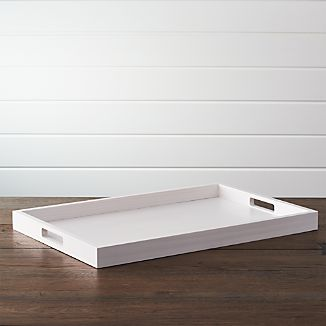 Zuma White Rectangular Tray