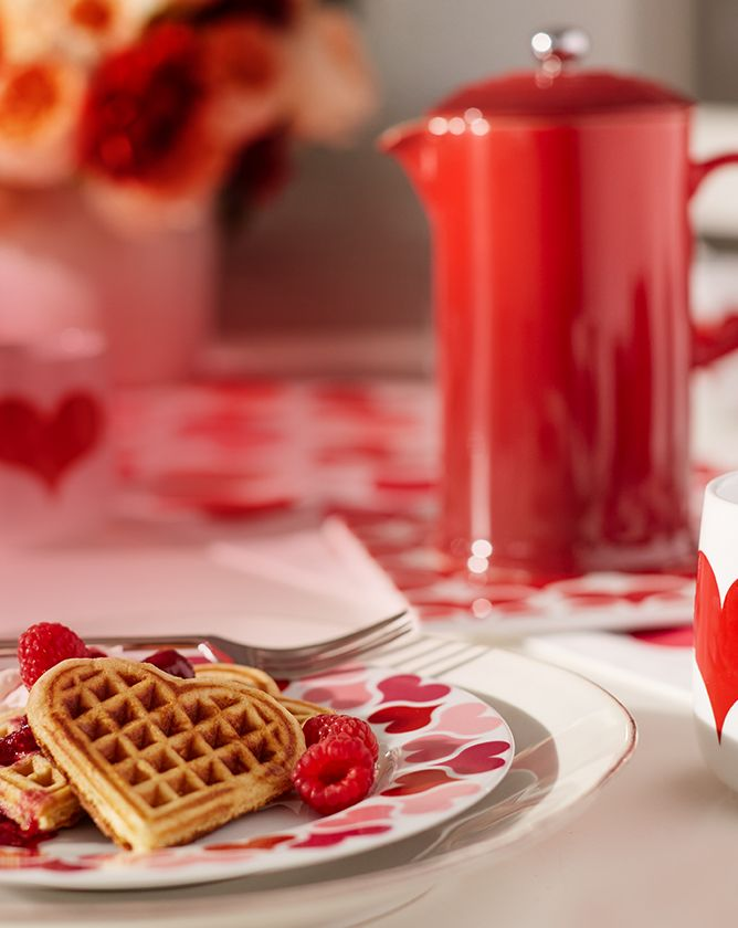 A table decorated with a valentine theme