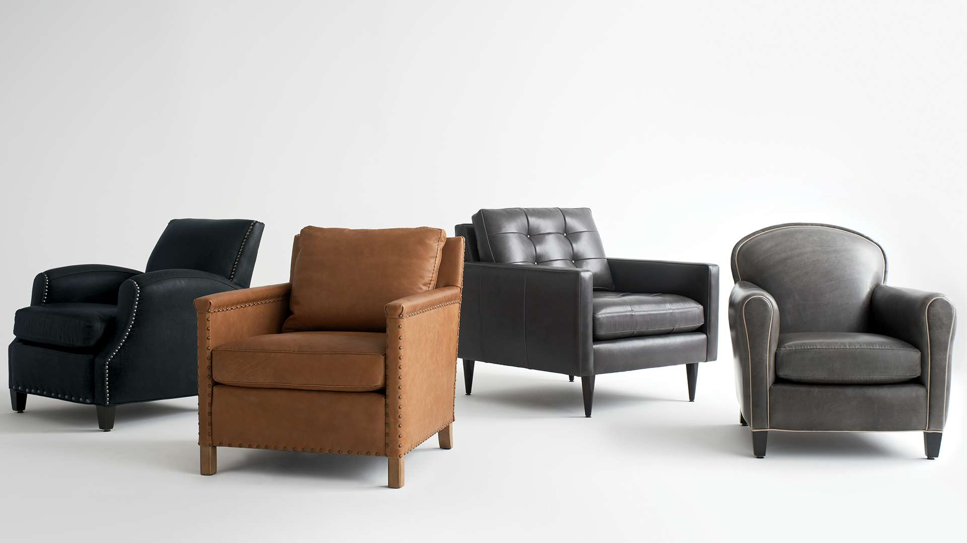 Metropole, Trevor, Tux and Eiffel Leather Chairs