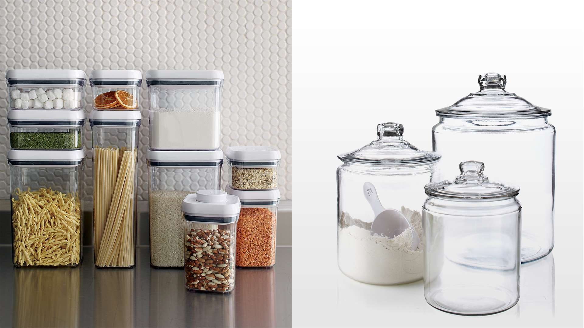 OXO Pop Container Set and Heritage Hill Glass Jars