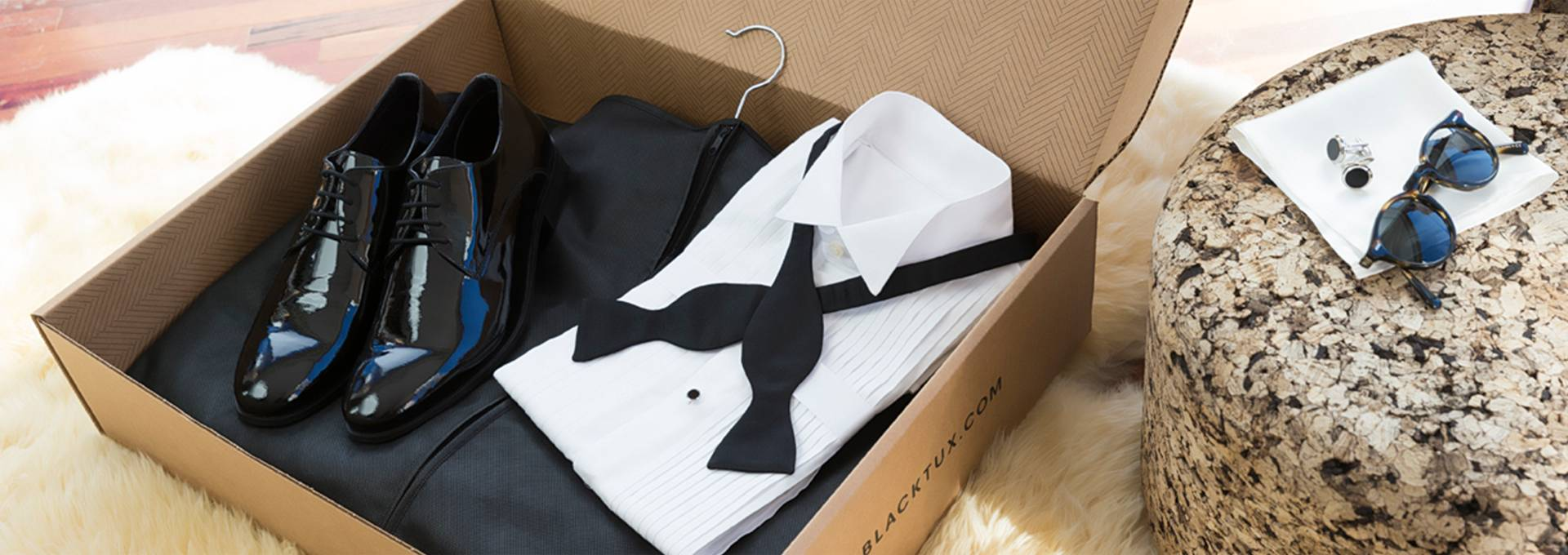 box of shipped tuxedo from The Black Tux