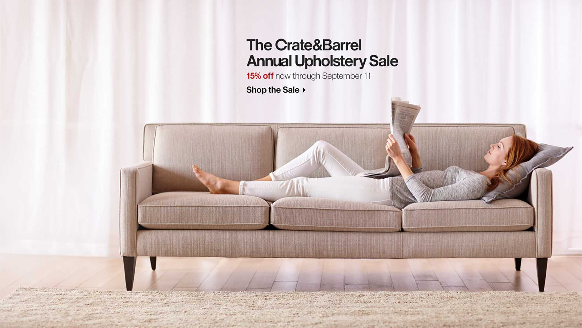 The Crate and Barrel Annual Upholstery Sale 15% off now through September 11