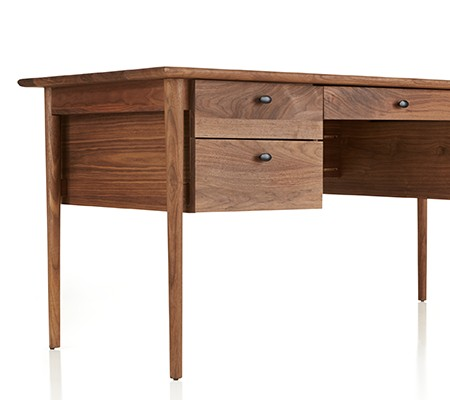 zoomed in view of the Kendall Walnut Desk