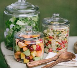 Heritage Hill Glass Jars with Lids filled with salad and fruit