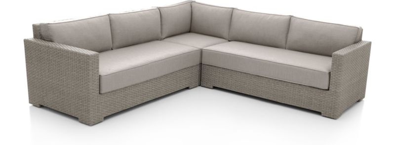Ventura Quartz 3 Piece Loveseat Sectional With Sunbrella ® Cushions by Crate&Barrel
