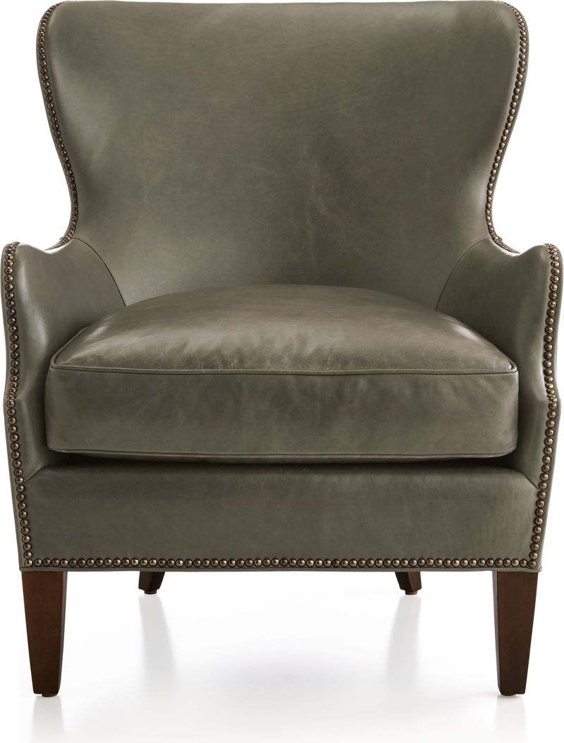 Brielle Nailhead Leather Wingback Chair by Crate&Barrel