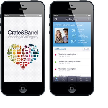 Crate and Barrel Wedding & Gift Registry App for iPhone® and Android™