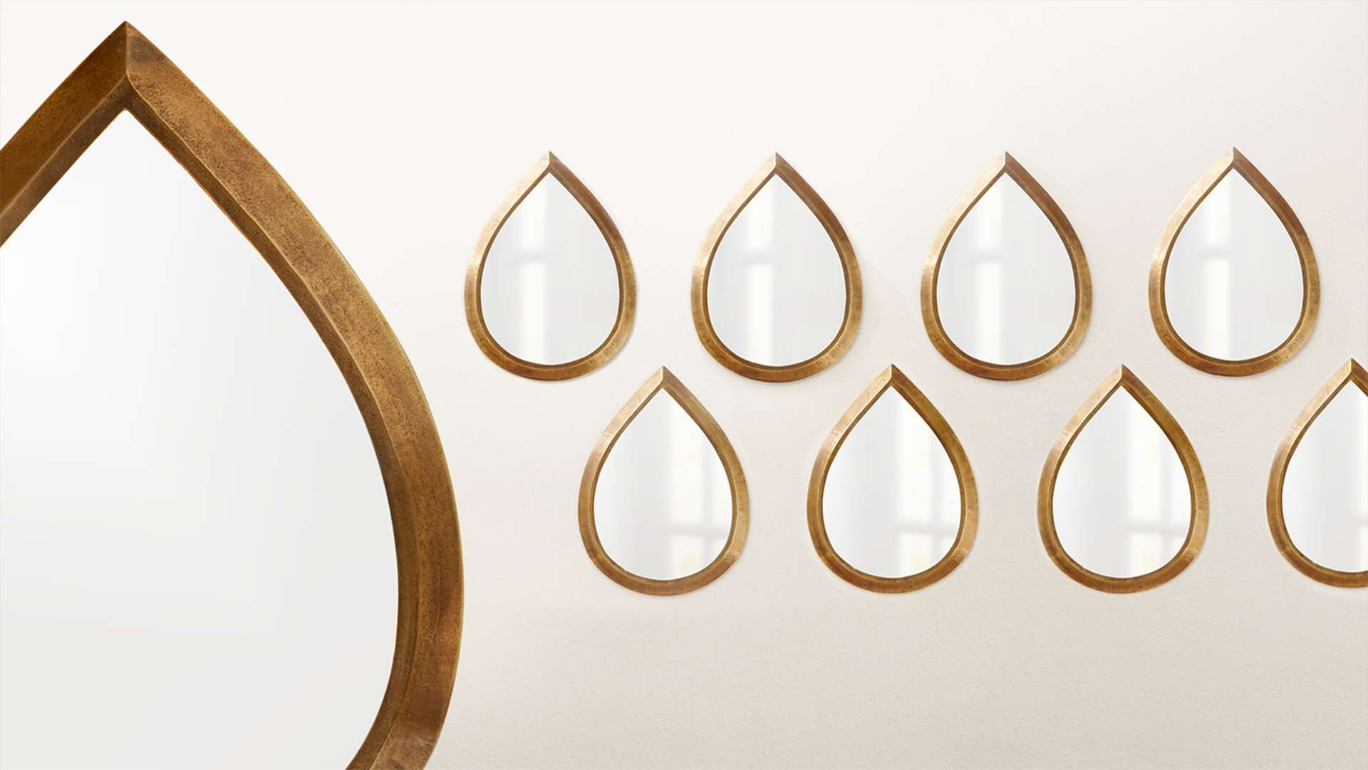Kasbah Teardrop Brass Wall Mirror