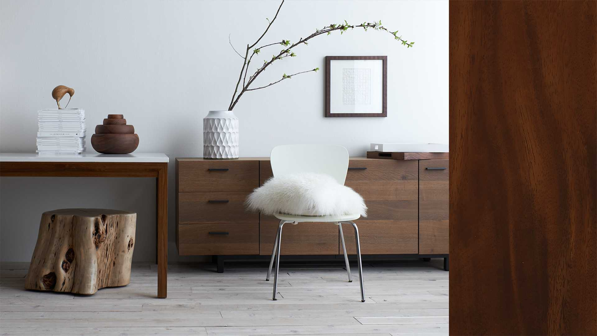 Vignette of white and wood products