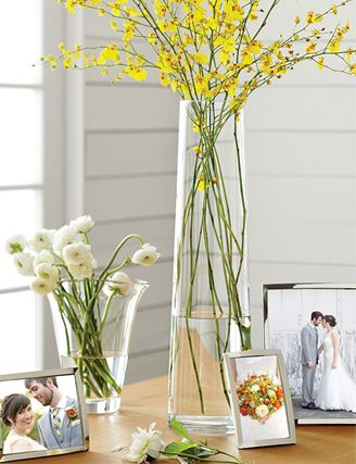 Palmetto vase with yellow flowers