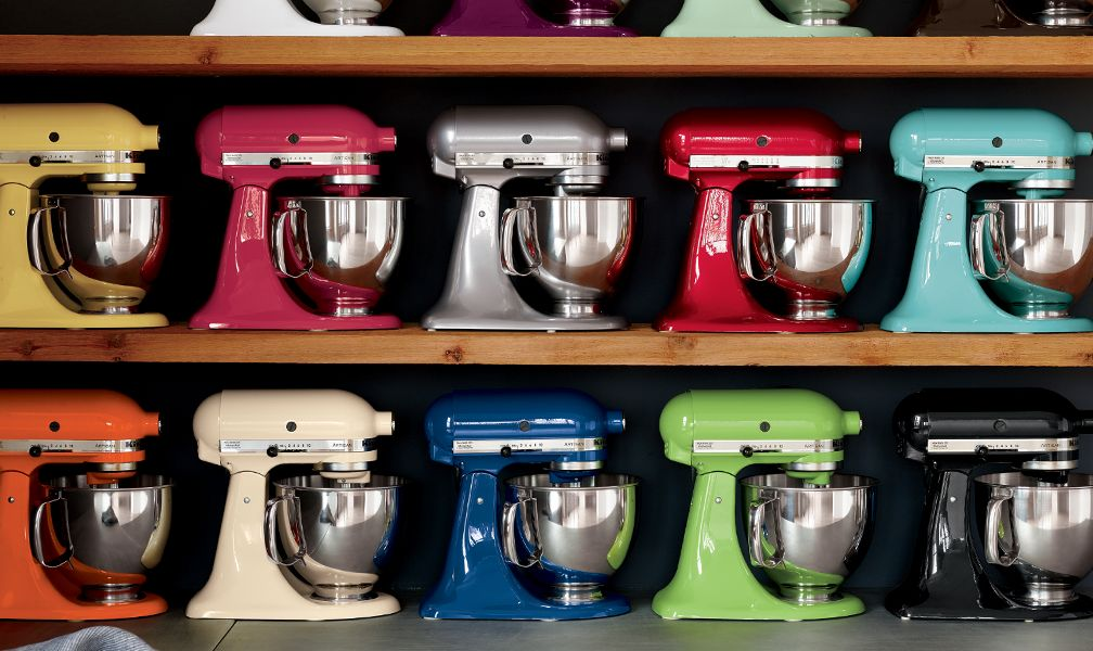 KitchenAid Stand Mixers in multiple colors on shelves