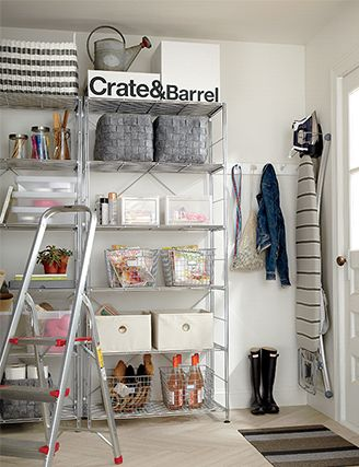 Organized garage with utility shelves