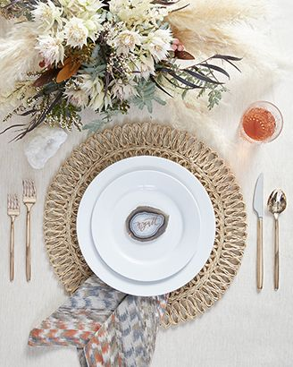 Boho table setting featuring Aspen Dinnerware with Harper Rose Gold Flatware, Tempe Placemat and Zola Orange Printed Napkin