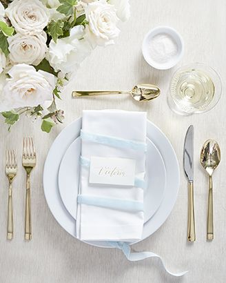 Classic table setting featuring Aspen Dinnerware with Emory Gold Flatware and Linden Ecru Tablecloth
